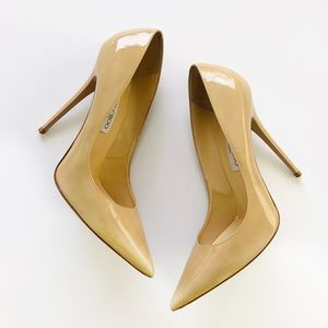 Jimmy Choo Nude Patent Leather Pump Pointed Toe